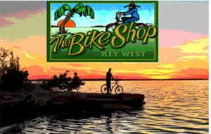 The Bike Shop Logo of Sunset at the water's edge with a person standing next to a bike.