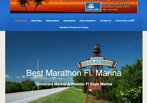 Sombrero Marina home page with image and text